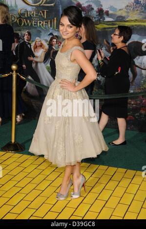 Los Angeles, California, USA. 13th February 2013.  Actress  MILA KUNIS     at the ' Oz The Great and The Powerful' - Stock Photo