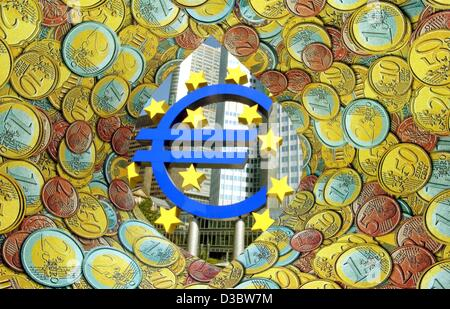 (dpa) - The symbolic picture shows the Euro sculpture in front of the European Central Bank (ECB) surrounded by - Stock Photo