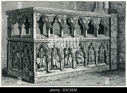 Vintage engraving of the Shrine of Thomas de Cantilupe in Hereford Cathedral - Stock Photo