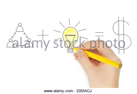 Teamwork and Ideas equal Money, Business Concept with hand and pen - Stock Photo