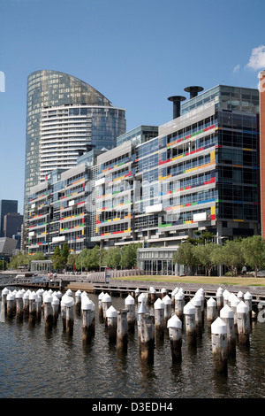 The environmentally friendly National Australia Bank building at Docklands Melbourne Victoria Australia - Stock Photo