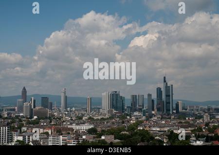 Skyline Frankfurt am Main, view from  Sachsenhausen aus, Taunus mountains in the background - Stock Photo