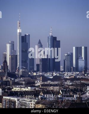 Deutschland, Frankfurt Main, skyline view from hanauer landstr - Stock Photo