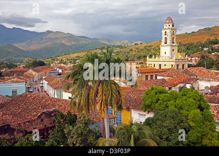 View over Trinidad and the bell tower of the Iglesia y Convento de San Francisco / Church and Monastery of Saint - Stock Photo