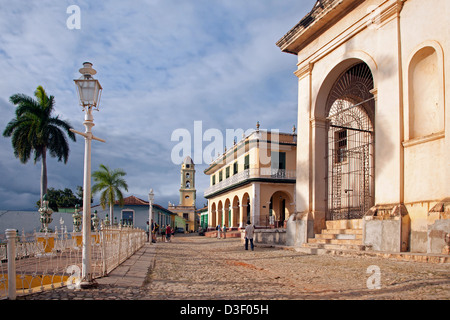 Plaza Mayor and bell tower of the Iglesia y Convento de San Francisco / Church and Monastery of Saint Francis in - Stock Photo