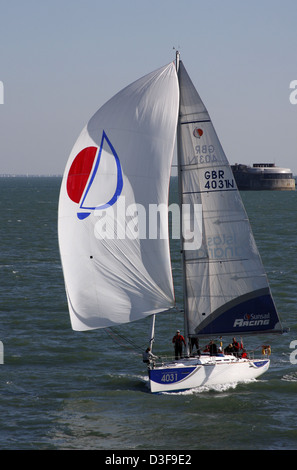 Sunsail yacht in the English Channel between Portsmouth Harbour and The Isle of Wight - Stock Photo