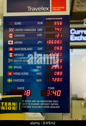Currency exchange rate board - USA - Stock Photo