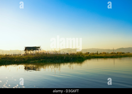 Inle (also, Inlay) Lake in Myanmar - Stock Photo
