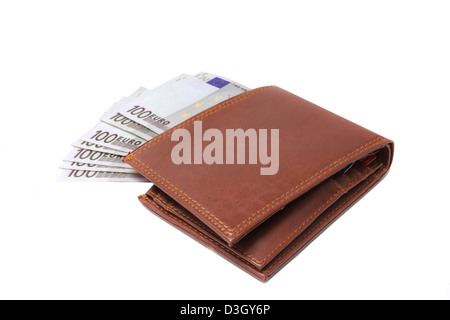Wallet with 100 euro banknotes isolated over white - Stock Photo
