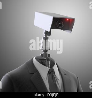 A robotic security camera - automated surveillance - Stock Photo