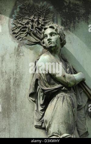 Female figure on the Jacob Guiollett monument, Taunusanlage, Frankfurt, Germany. - Stock Photo