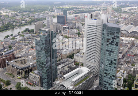 Looking south towards the river Main from the top of the Main Tower, Frankfurt, Germany. - Stock Photo