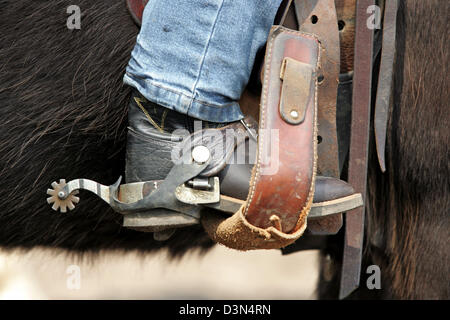 Wahlitz, Germany, symbolic photo, Western riding boots with spurs a child - Stock Photo