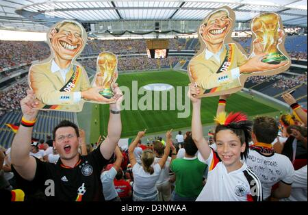 German supporters cheer prior to the FIFA World Cup 2006 semi final Germany vs Italy at the Frankfurt stadium, Tuesday, - Stock Photo