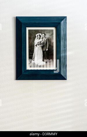 Vintage framed wedding photograph - Stock Photo