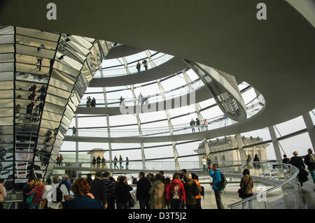 at the Reichstag in Berlin Germany, View of the glass dome above debating chamber Architect Norman Foster - Stock Photo