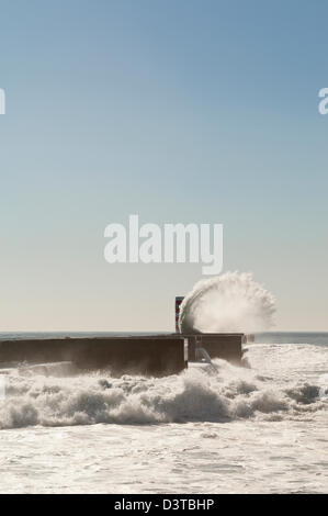 Rough sea in the jetty of Felgueiras, Douro river mouth, Porto, Portugal - Stock Photo