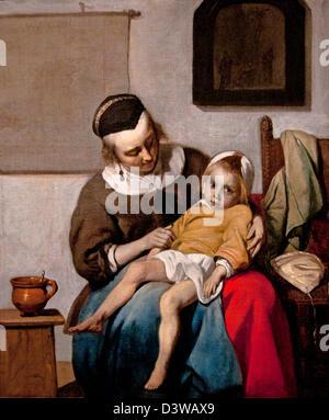 The sick child 1660 Gabriel Metsu Dutch Netherlands - Stock Photo