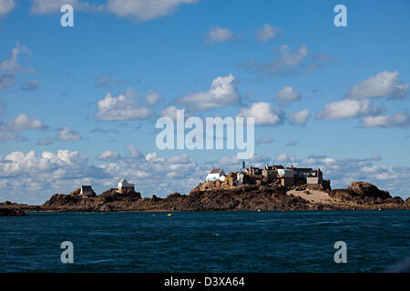 Fishermen's houses on Ecrehous island off Jersey, Channel islands, UK - Stock Photo