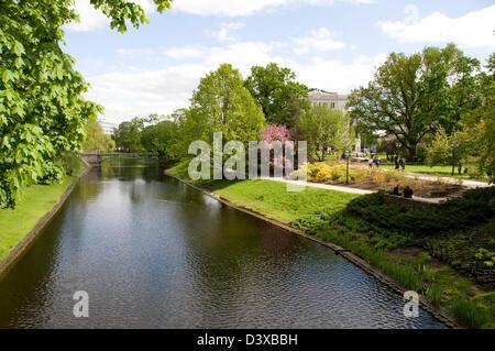 The City canal in Kronvalda park in Riga,Latvia Baltic States - Stock Photo