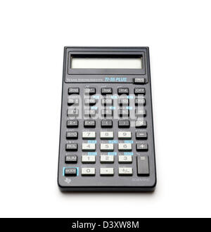 Blue Texas Instruments TI-35 Plus scientific calculator isolated on white background - Stock Photo