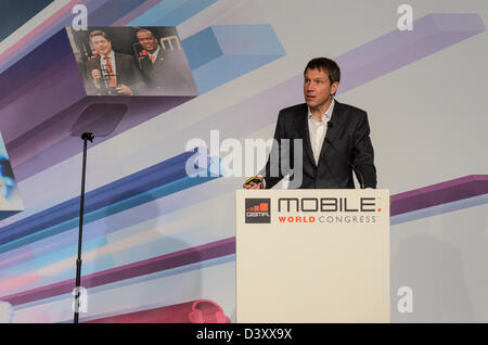 Barcelona, Spain. 26th Febraury 2013: René Obermann, Chairman & CEO, Deutsche Telekom speaks about 'Future of Comunications' - Stock Photo
