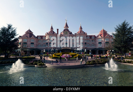 Evening view of the entrance to Disneyland, Paris - Stock Photo