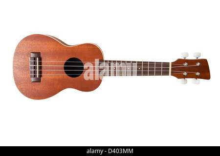 Wooden Ukulele on white background with clipping path - Stock Photo