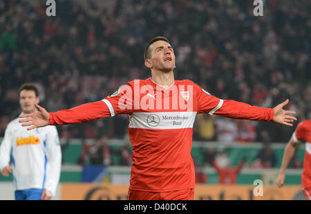 Stuttgart, Germany. 27th February 2013. Stuttgart's Vedad Ibisevic celebrates his 2-0 goal during the DFB Cup quarter - Stock Photo