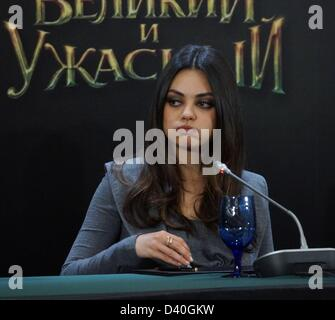 Moscow, Russia. 27th February 2013.  Pictured: actress Mila Kunis at the press conference in Moscow to promote Russian - Stock Photo