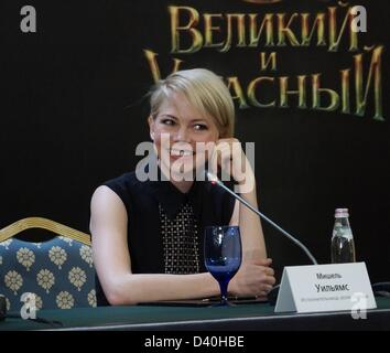Moscow, Russia. 27th February 2013.  Pictured: actress Michelle Williams at the press conference in Moscow to promote - Stock Photo