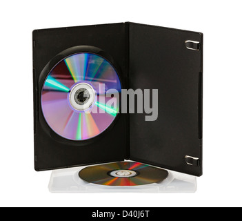 DVD disks in boxes on a white background - Stock Photo