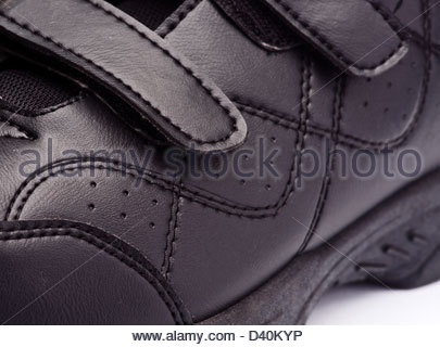 modern black sports shoes; isolated on white - Stock Photo
