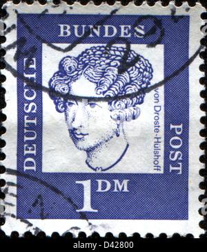 GERMANY - CIRCA 1961: A stamp printed in German Ferderal Republic shows Annette von Droste-Hülshof, circa 1961 - Stock Photo