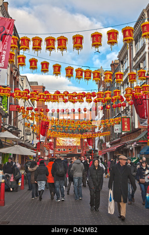 Chinese New Year in Gerrard Street in Chinatown, London. - Stock Photo