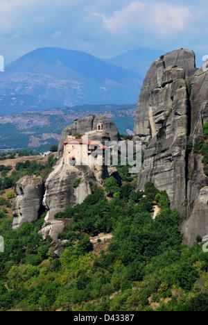 Monastery Agios Nicolaos Anapafsas dating from 1572 AD, Meteora, Greece - Stock Photo