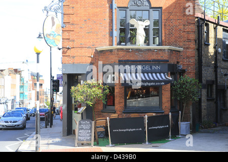 The Angel Inn, a pub in Highgate village in north London, in England, UK - Stock Photo