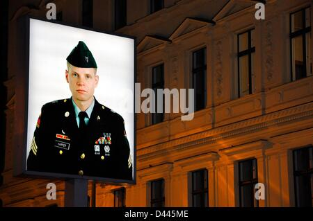Portrait of a young American soldier at the former border post Checkpoint Charlie in Berlin, Germany, 8 March 2011. - Stock Photo
