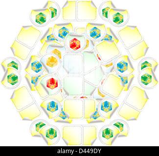 white, yellow, red gift box seamless pattern - Stock Photo