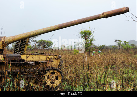 Africa ANGOLA old soviet tank from civil war between MPLA and UNITA near Quibala, some areas have still land mines - Stock Photo