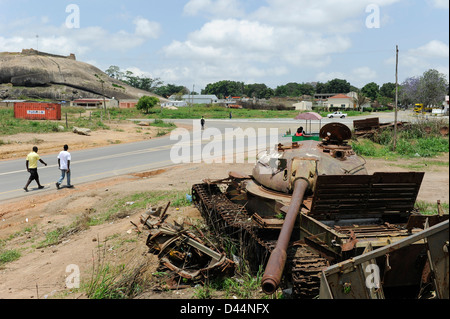 Africa ANGOLA old soviet tank from civil war between MPLA and UNITA in Quibala - Stock Photo