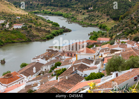 Mértola, view over roof and River Guadian from Moorish Castle, Alentejo District, Portugal, Europe. - Stock Photo