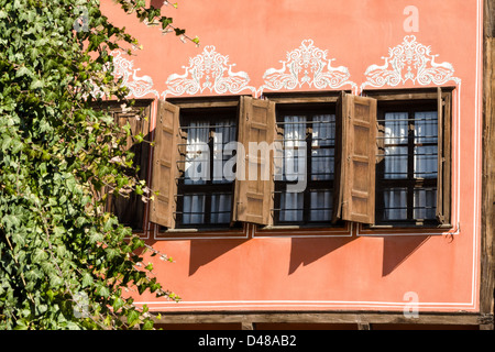 Windows with wooden shutters in the Old Town Plovdiv Bulgaria Balkans Eastern Europe - Stock Photo
