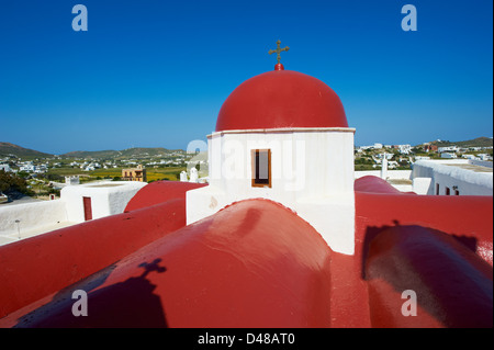 Greece, Cyclades, Mykonos island, Ano Mera, Panagia Tourliani monastery - Stock Photo