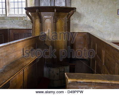 Box Pews, Church Hampshire England  Idsworth Interiors - Stock Photo