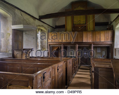 Box Pews Church  Hampshire England Idsworth Interiors Old Organ - Stock Photo