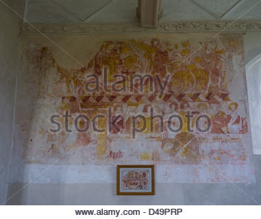 Hampshire England Idsworth Church Interiors  Paintings - Stock Photo
