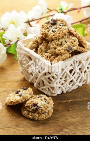 Crispy cookies with sunflower seeds and raisins - Stock Photo