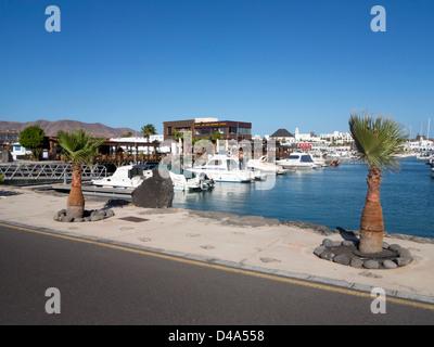 Lani's snackbar and restaurant Marina Rubicon, Playa Blanca, Lanzarote - Stock Photo