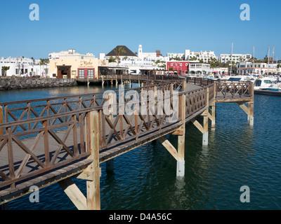 Promenade and coastal walkway around Marina Rubicon, Playa Blanca, Lanzarote - Stock Photo